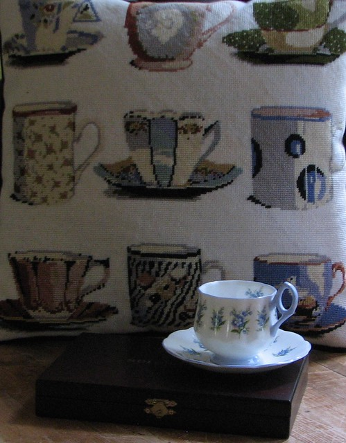 Needlepoint Pillow/Rosina Teacup