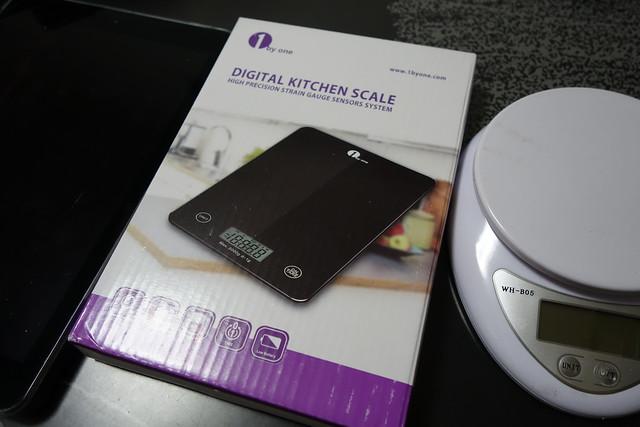 1byone タッチパネル式 デジタルキッチンスケール エレガントなブラック強化ガラス 体重マックス5000g11ポンド ブラック