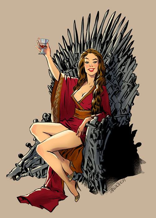 Risqué Game of Thrones pin-up girls by Andrew Tarusov - Cersei Lannister