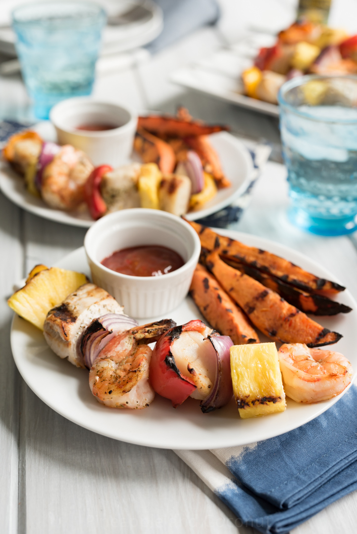 Grilled Mixed Seafood Kabobs with Old Bay Sweet Potato Wedge Fries #Ad WorldMarketTribe www.pineappleandcoconut.com