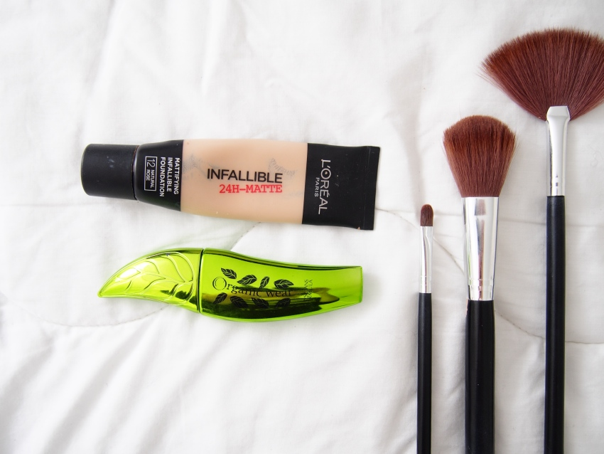 L'oréal paris infallibe 24h matte foundation, Physicians Formula organic wear jumbo lash mascara