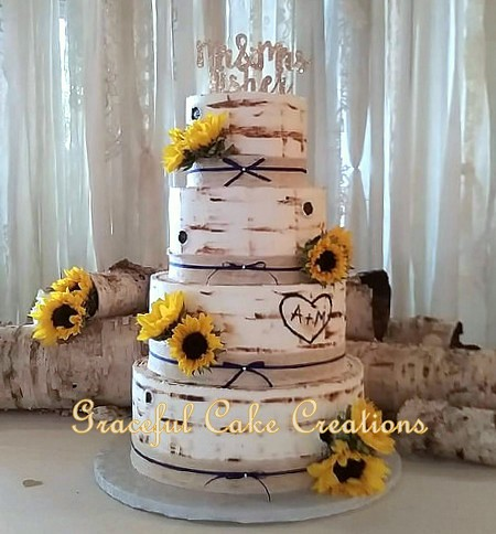 Wedding Cakes With Lace And Sunflowers