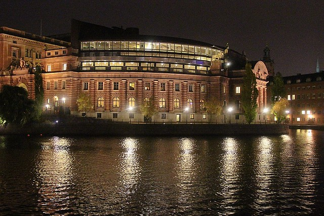 Swedish Parliament by night