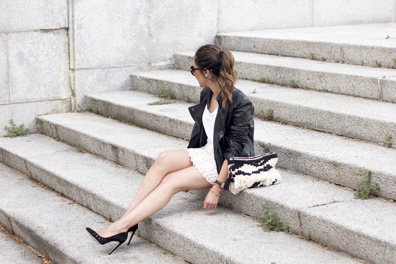 crochet skirt leather jacket black heels sunnies spring outfit style01