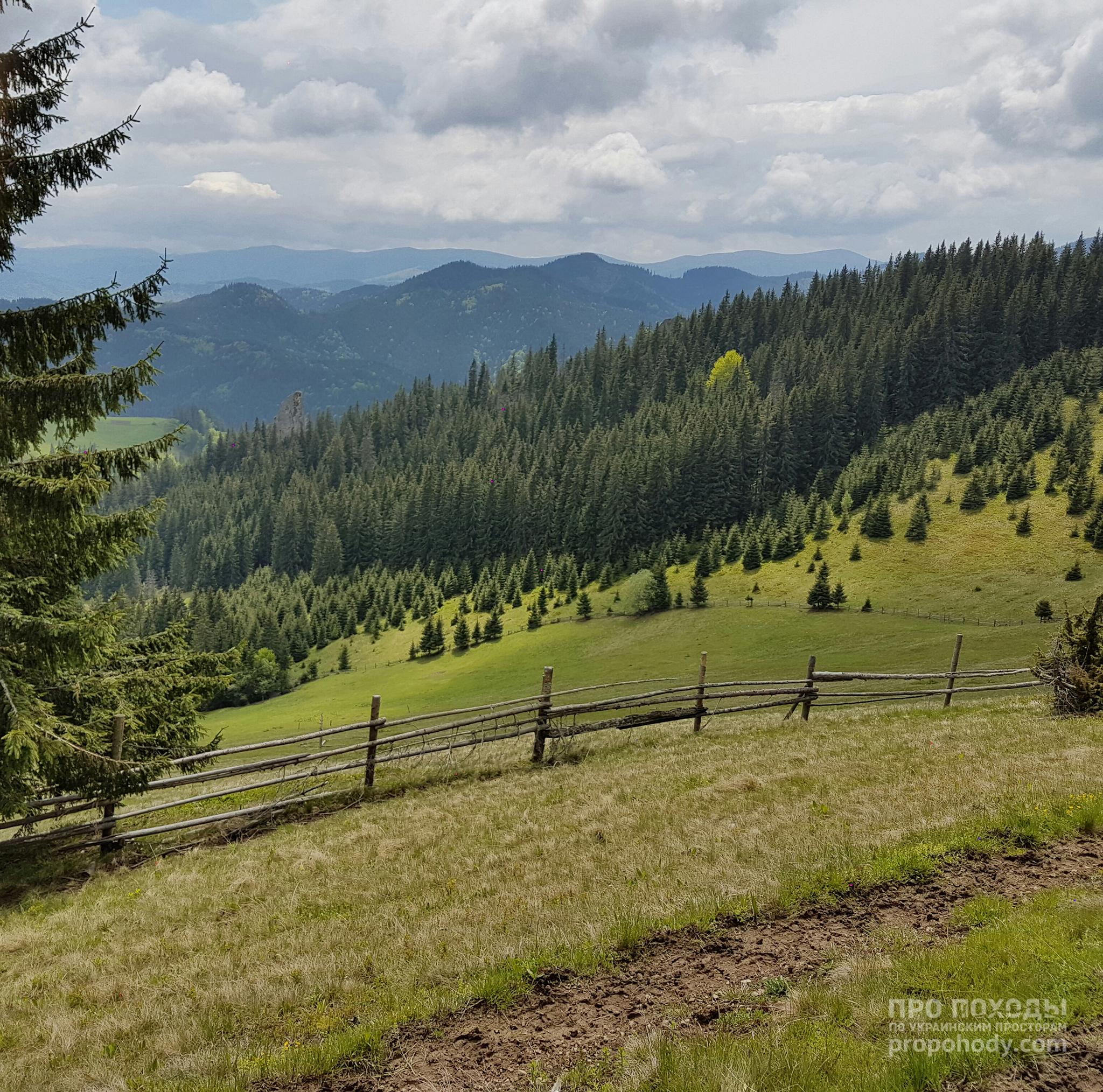 Гринявські гори. Спуск до Укорських скель