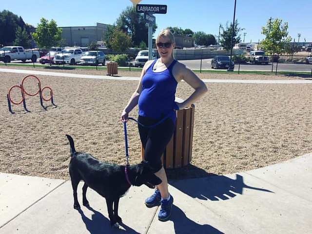 Lucy's first trip to a dog park, and boy do I look pregnant or what?! 22 weeks today.