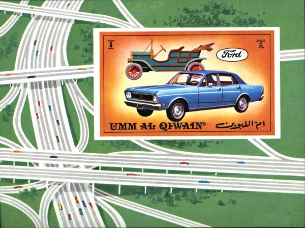 Známky Um al Kaiwain 1972 Autá Ford, nerazítkovaný blok