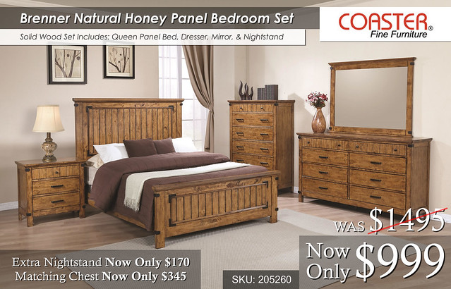 Brenner Natural Honey Panel Bed Set
