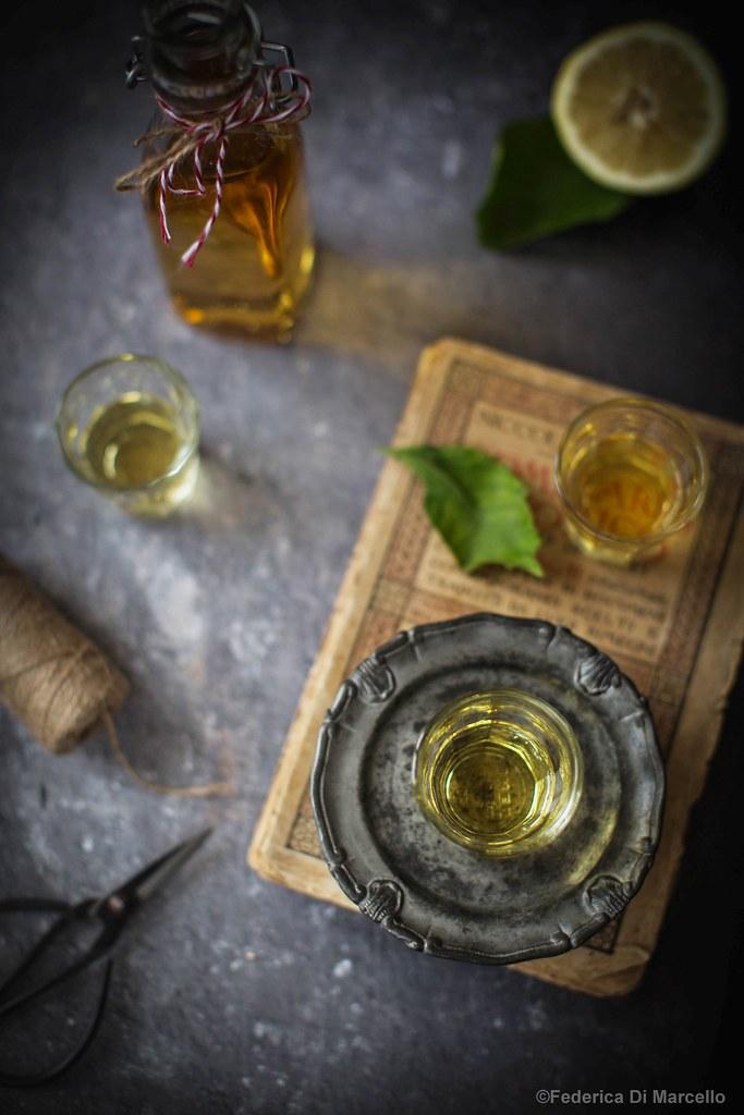 Home-made limoncello: liqueur made from organic lemon peel