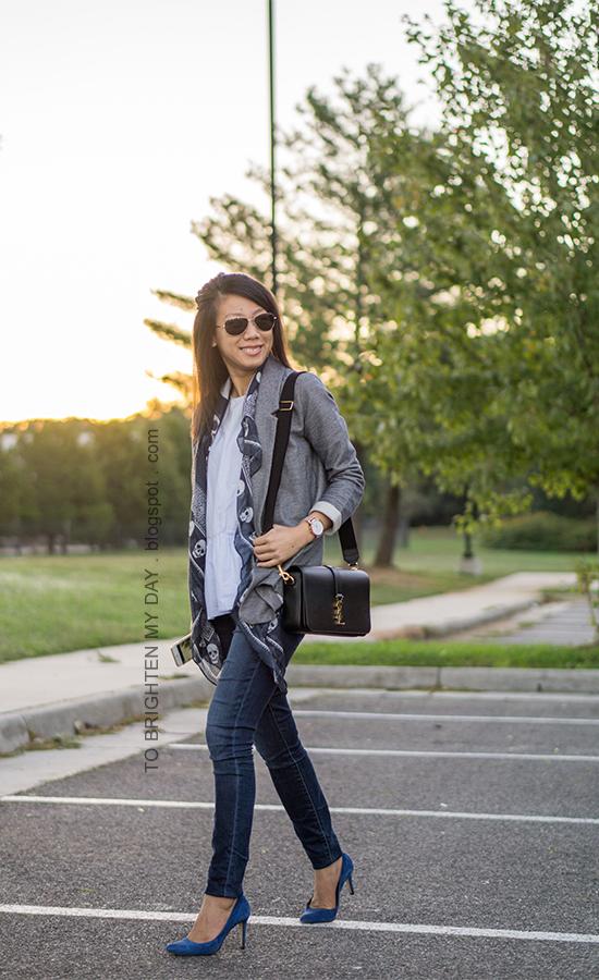 gray boyfriend blazer, navy skull scarf, baby blue peplum top, skinny jeans, oversized watch, black shoulder bag, blue suede pumps