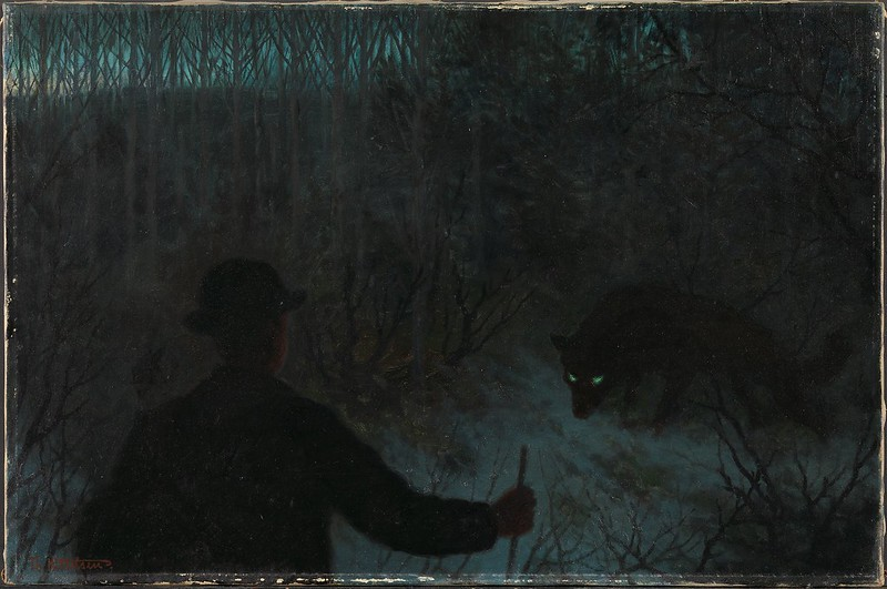 Theodor Kittelsen - The Ash Lad and the Wolf, 1900