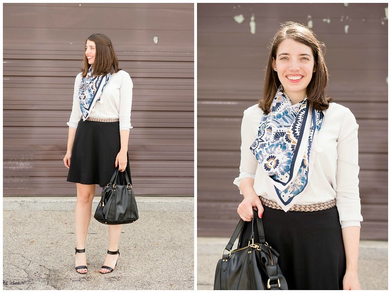 black skirt + gray white button down blouse + patterned scarf + black heeled sandals, summer work outfit | Style On Target