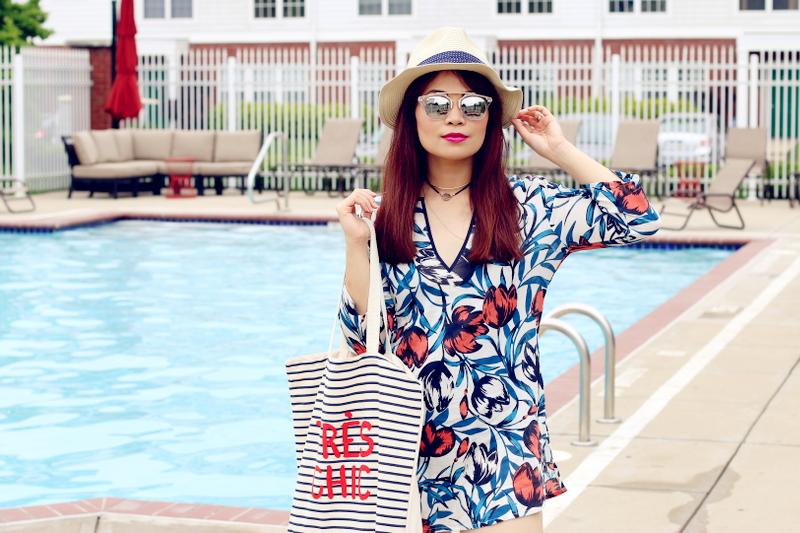 pool side look, swim coverup, hat, mirrored sunglasses, choker