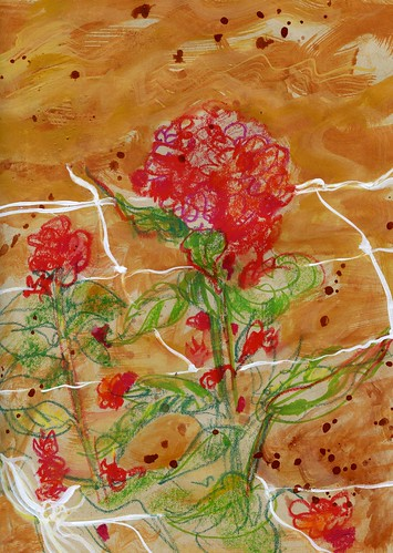 Peregrine Farm flowers and mesh support: paint made from local soil, watercolor crayon, acrylic paint.