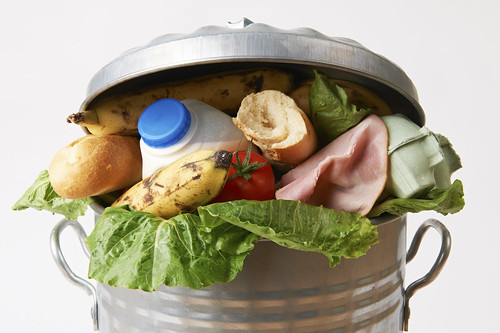 Food in garbage can