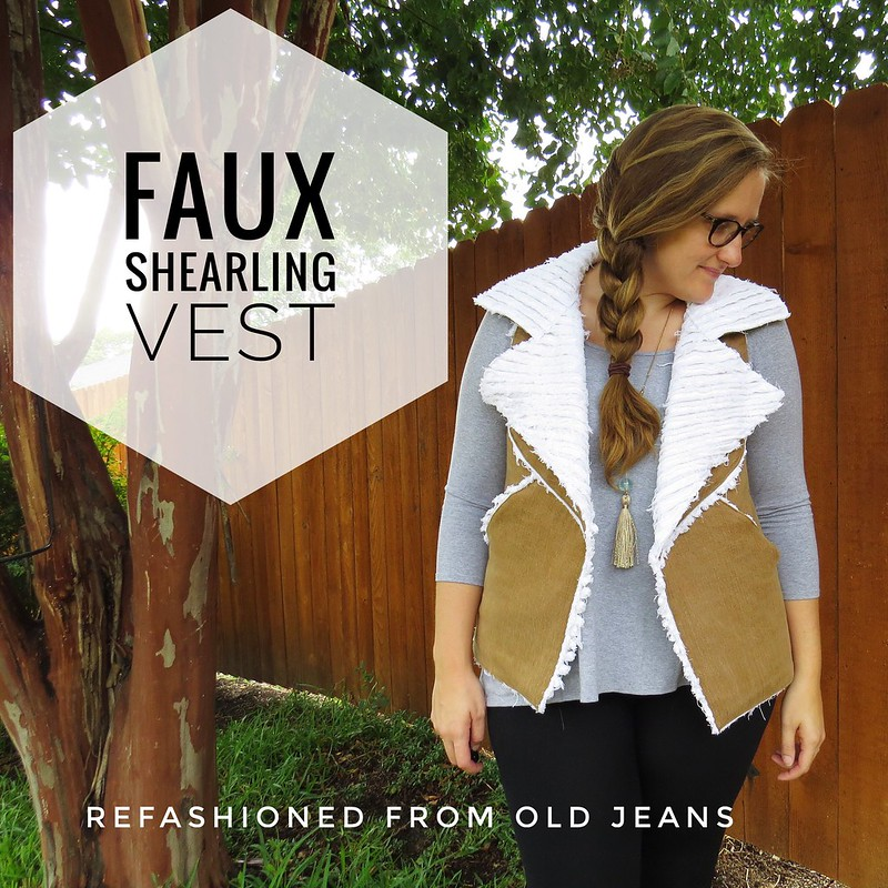 Denim Faux Shearling Vest