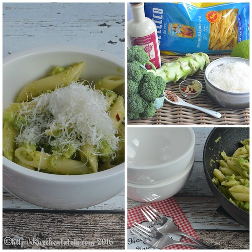 Penne with spicy broccoli sauce Collage
