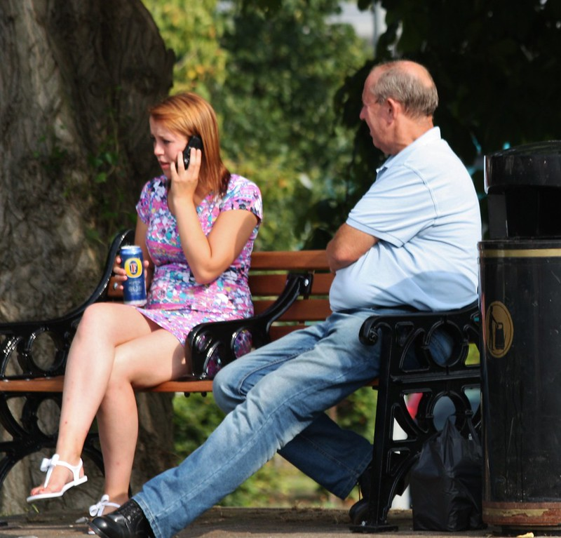Medway River Festival - July 2014 - Miniskirt Candid - Dad's Listening... I'll Call you Back Later
