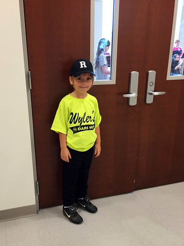 Tee Ball Bee waits for Julia at Performing Arts camp