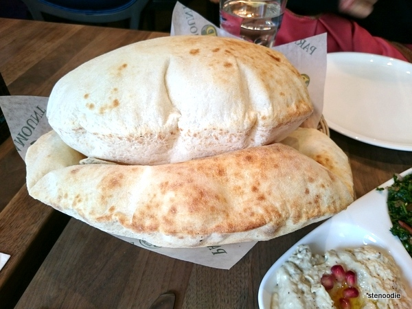 Puffed up pita bread at Paramount Fine Foods