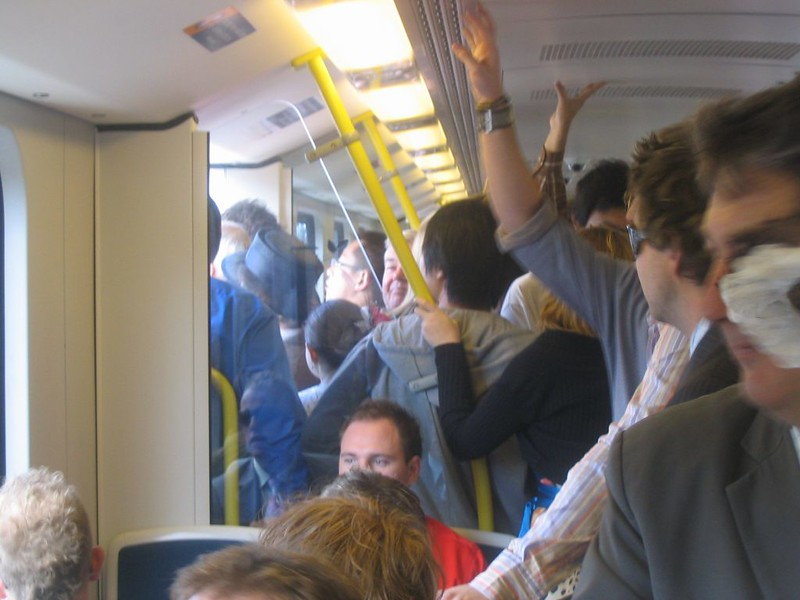 Crowded Sunday train, October 2006
