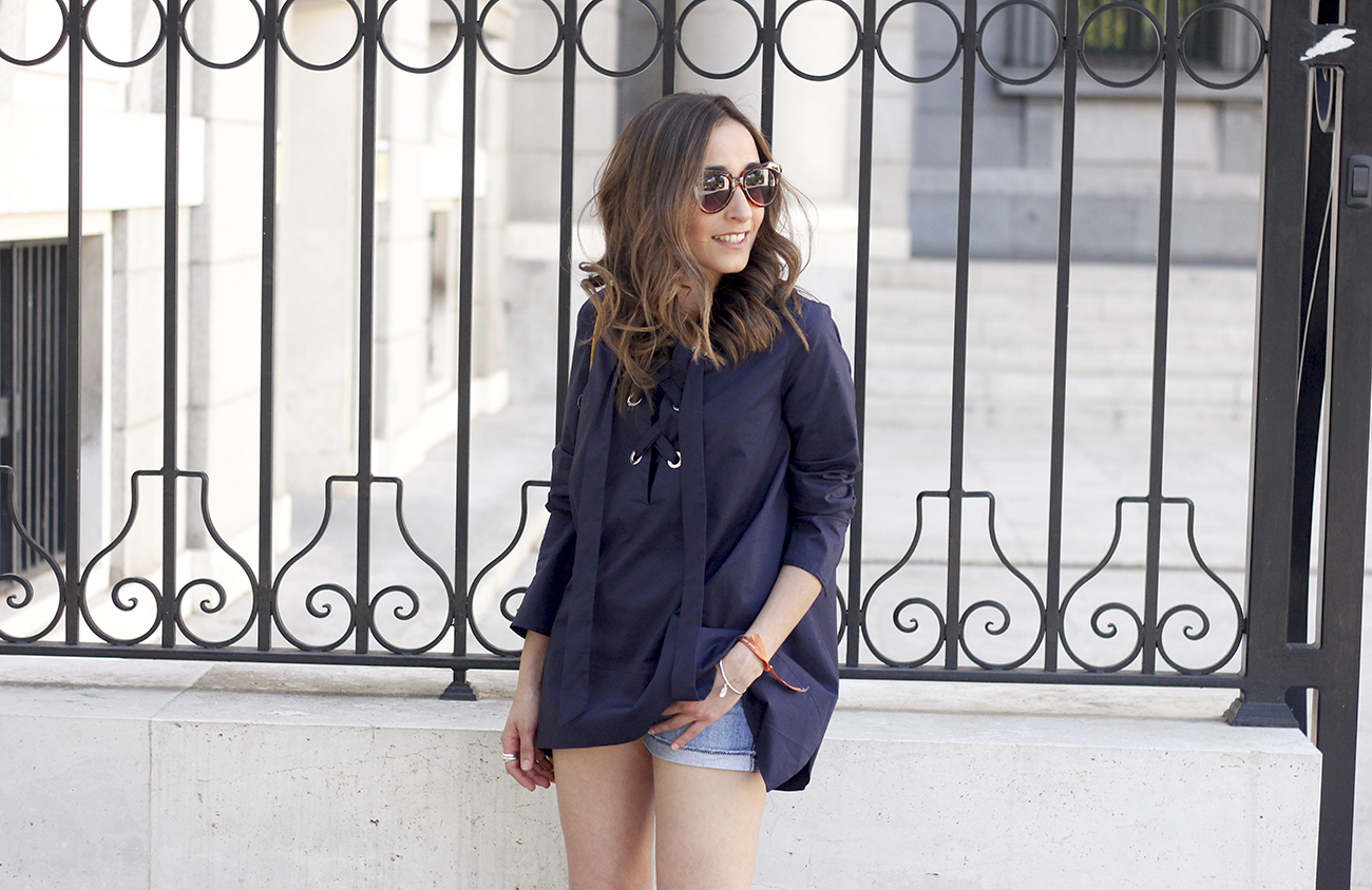 lace up blouse denim shorts nude heels clutch sunnies outfit style fashion21