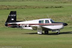 G-RAFW - 1965 build Mooney M.20E Super 21, arriving on Runway 08L at Barton