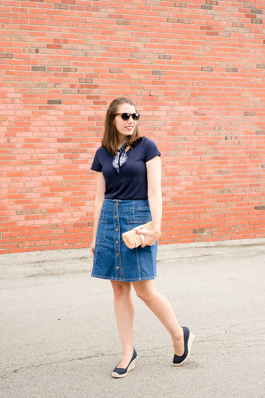 navy tee + denim button skirt + navy J.Crew wedges + bandana + wicker clutch; casual summer outfit | Style On Target blog