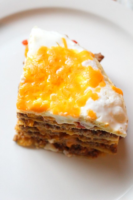 Layered Seasoned Beef with Grilled Peppers Mexican Lasagna