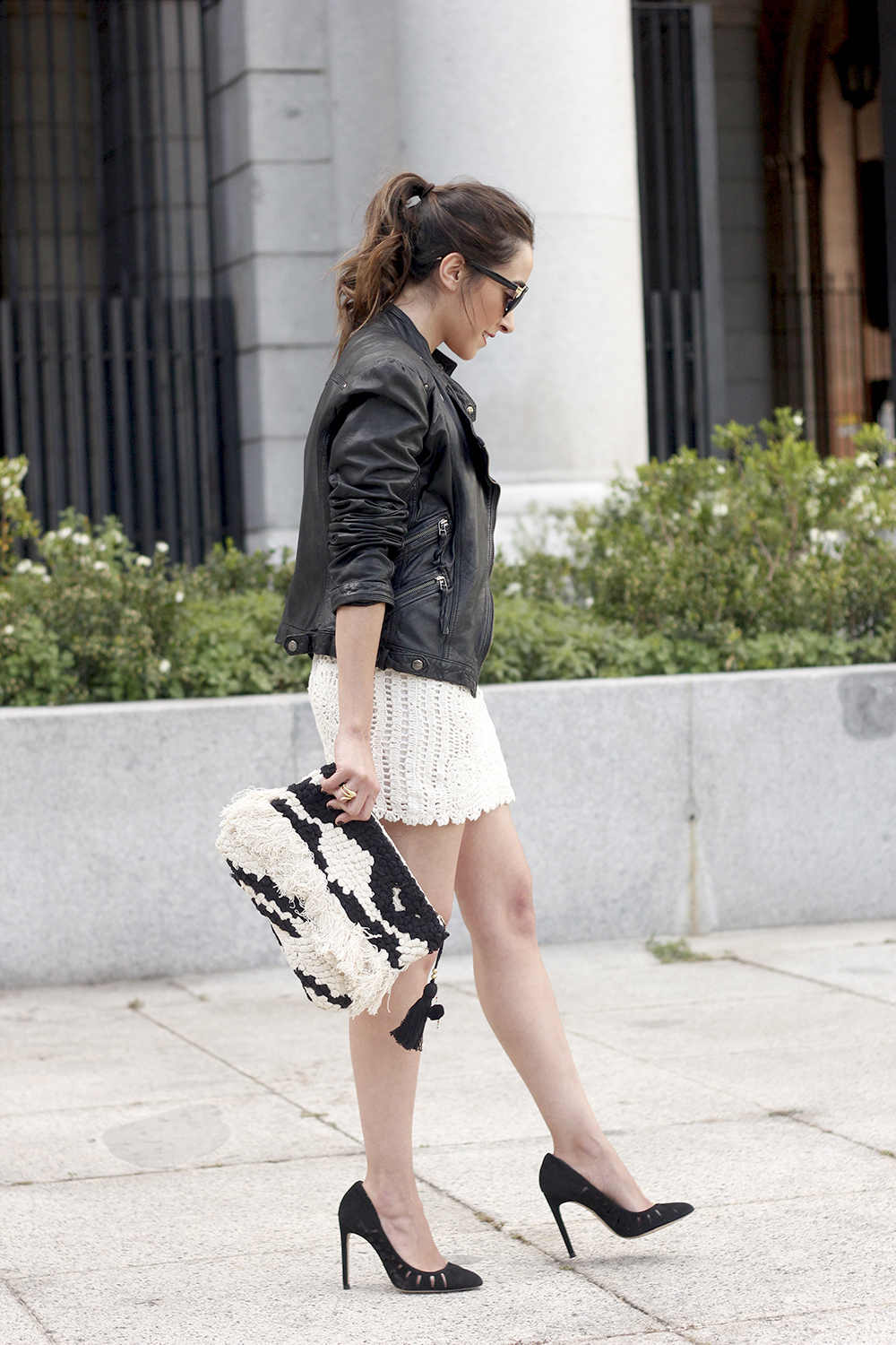 crochet skirt leather jacket black heels sunnies spring outfit style13
