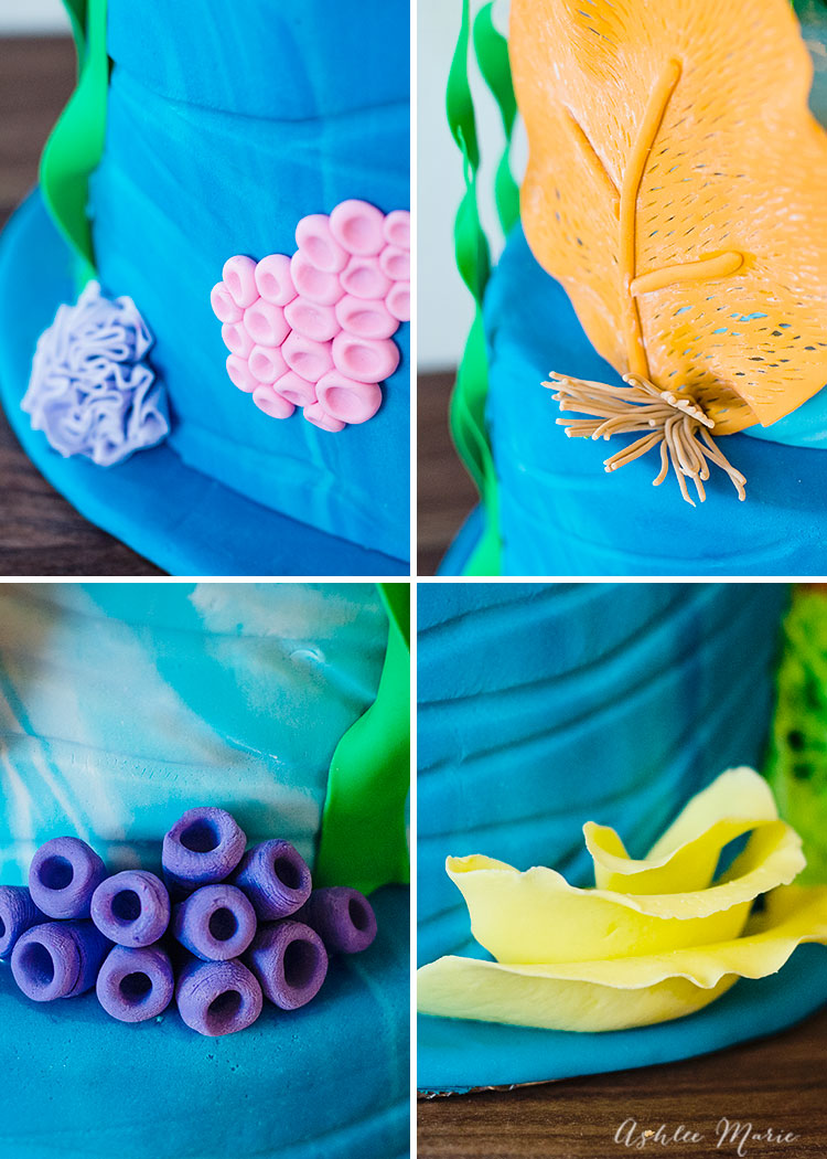 these various corals are easy to make and add a sweet touch to this under the sea coral cake
