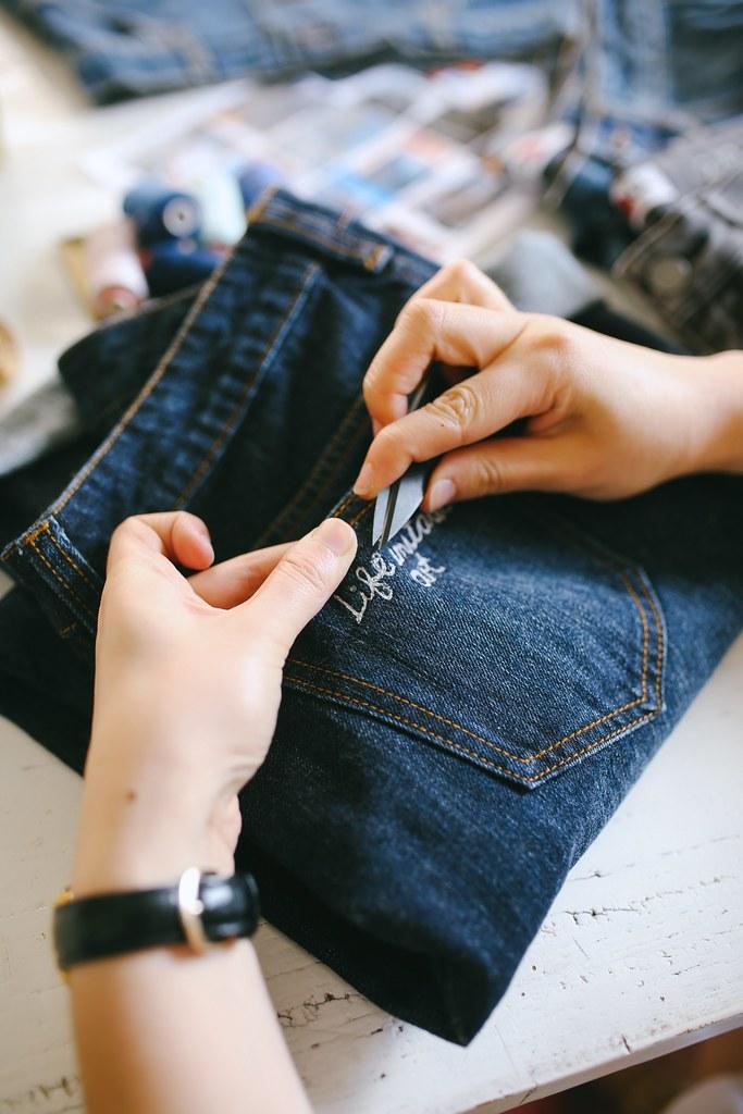 DIY Word Embroidered Denim Two Ways