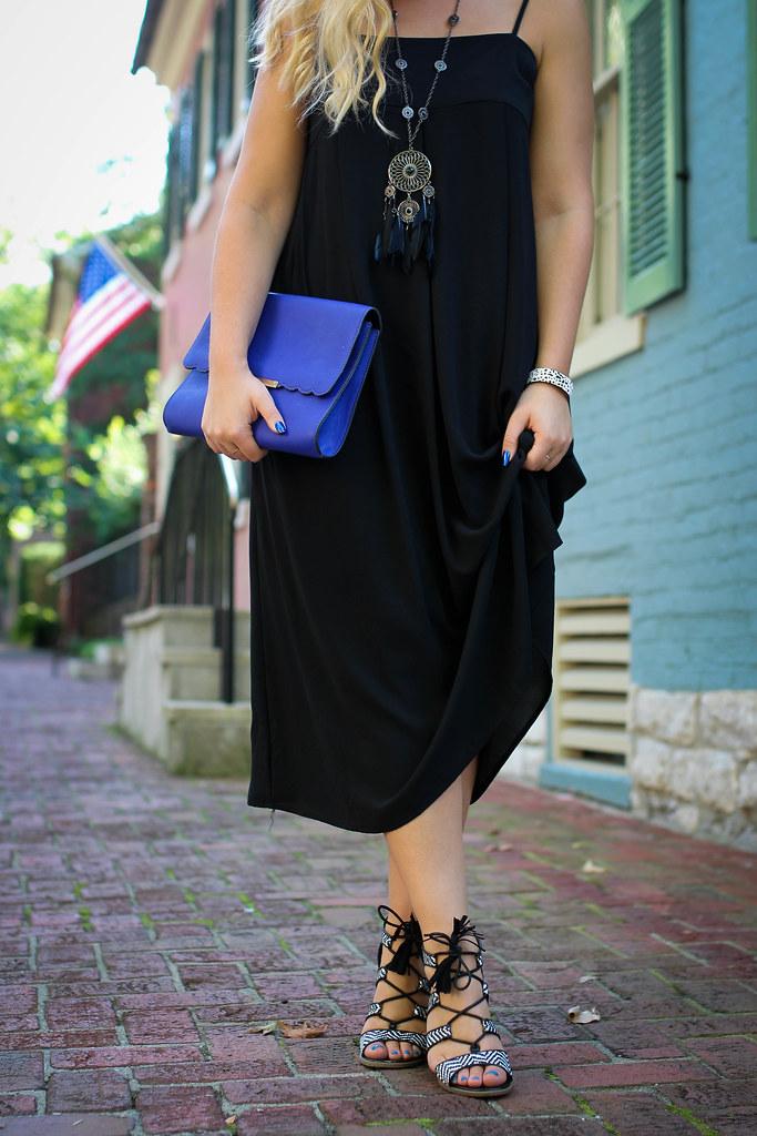 Black White Lace Up Tassel Sandals