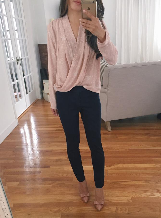 ann taylor petites wrap drape work blouse sale