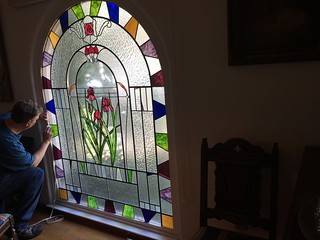 John installing new LED lights on stained glass panel 1 Aug 2016