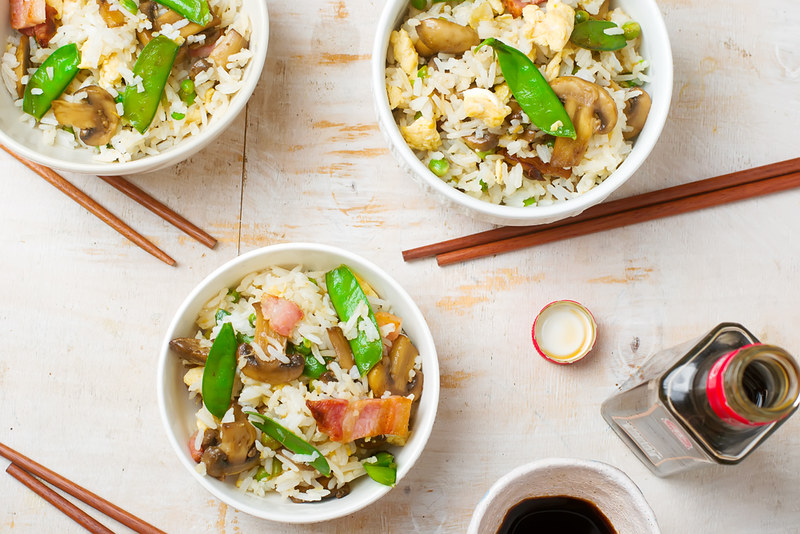 fried rice with mushrooms and peas