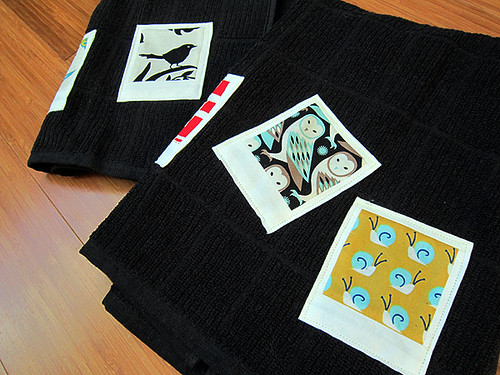 polaroid patchwork kitchen towels