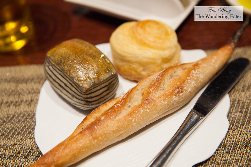 My bread plate - Squid ink layered brioche, mini baguette, swirled brioche