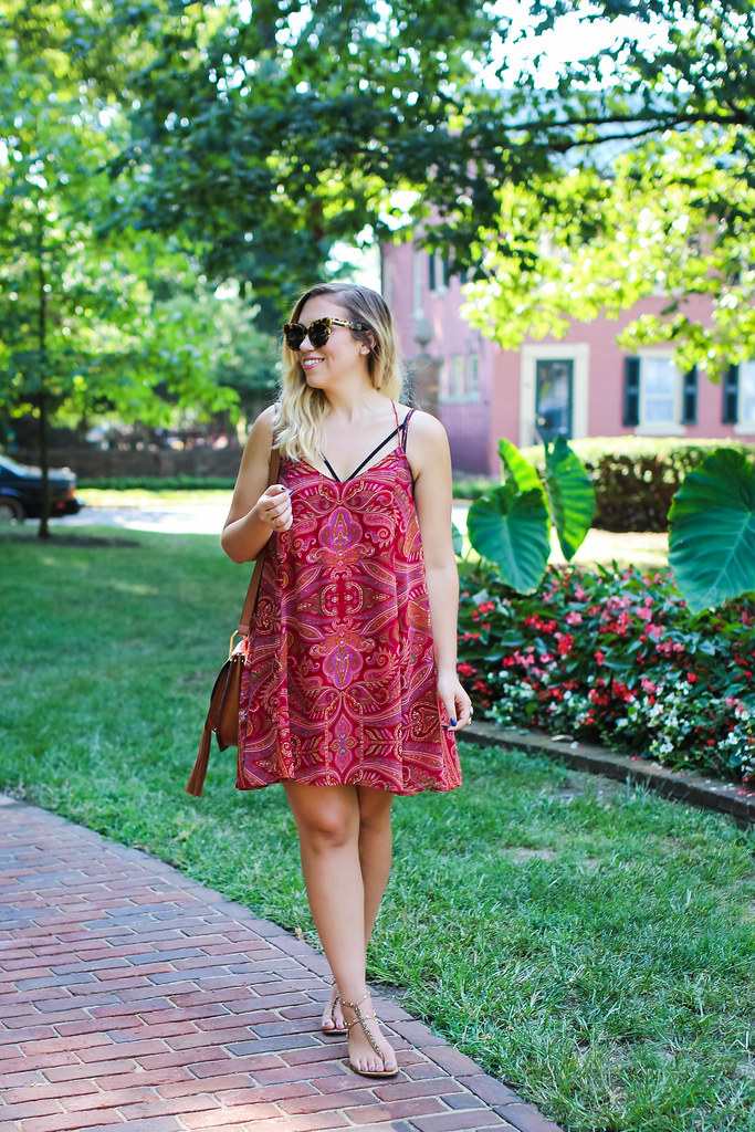 Red Paisley Swing Dress Cognac Studded Sandals Karen Walker Sunglasses Brown Tassel Cross Body Bag Gratz Park Lexington Kentucky Living After Midnite Outfit Blogger Jackie Giardina