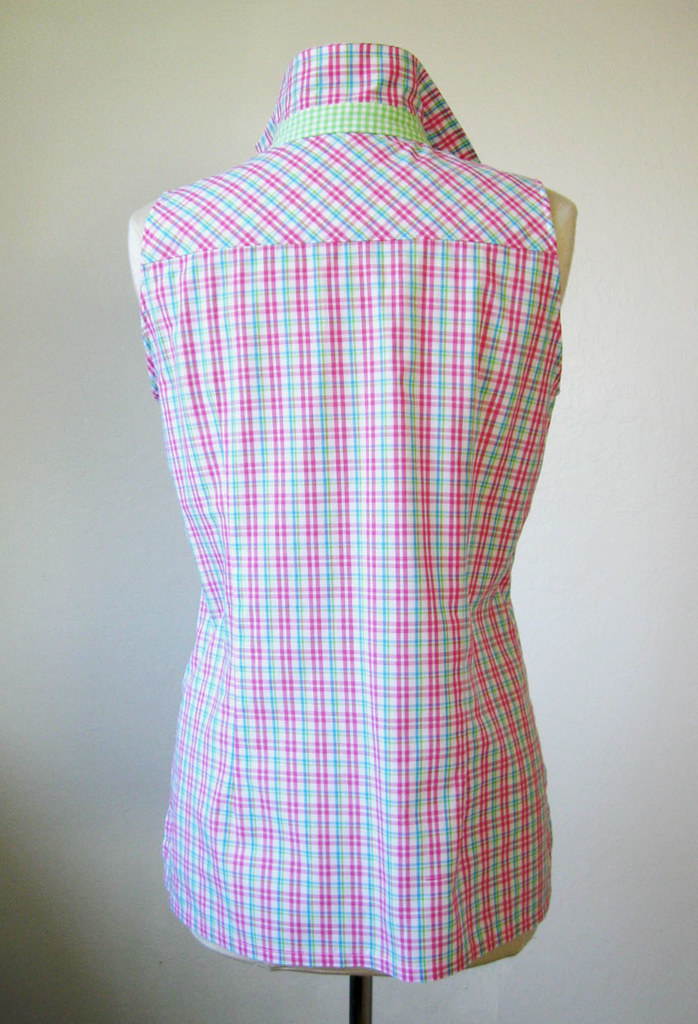 pink plaid top back view on form