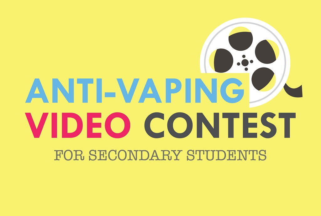 Yellow background with film reel icon and text 'Anti-Vaping Video Contest for Secondary Students'