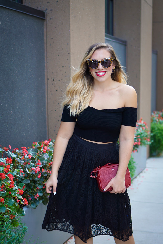 Black Off Shoulder Crop Top Black Lace Midi Skirt Red Gigi New York Clutch Early Fall All Black Outfit
