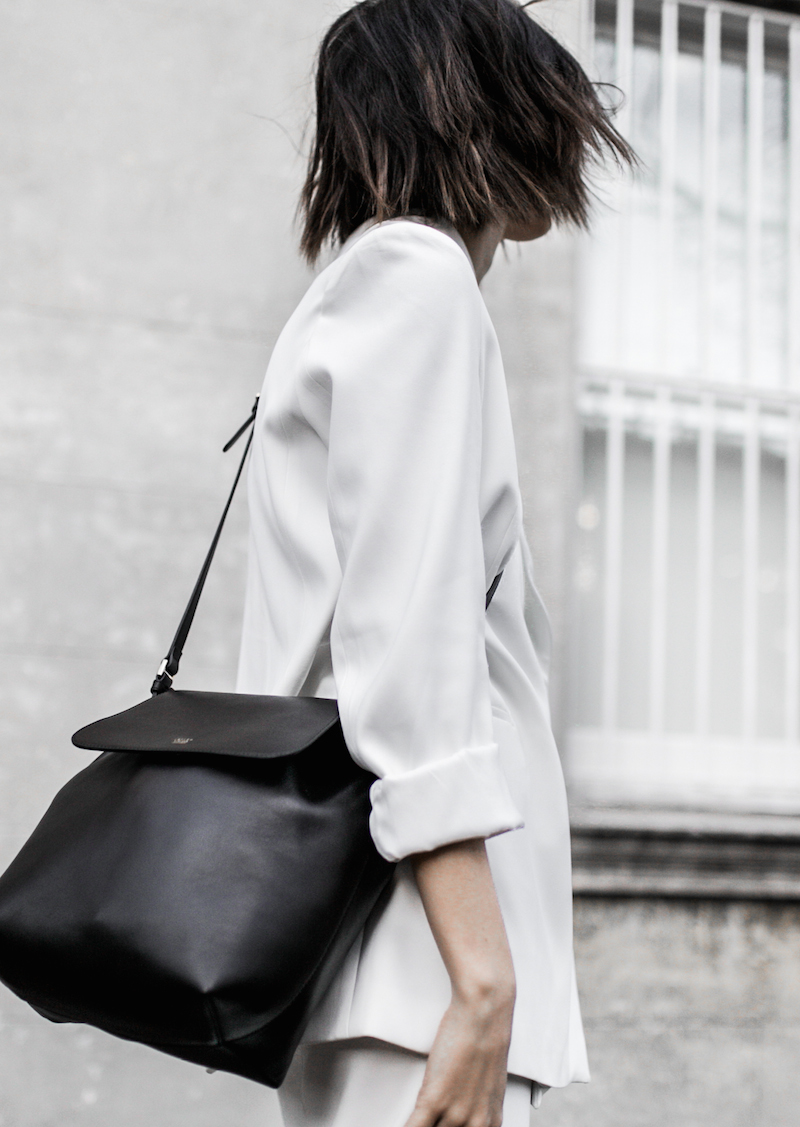 all white suit street style inspo fashion blogger celine Loxley bucket bag sneakers modern legacy minimal Instagram (9 of 18)