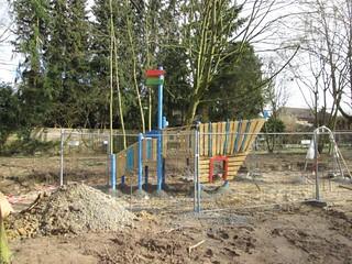 Kletterelement am Spielplatz Nottulner Landweg in Roxel während der Bau-Phase