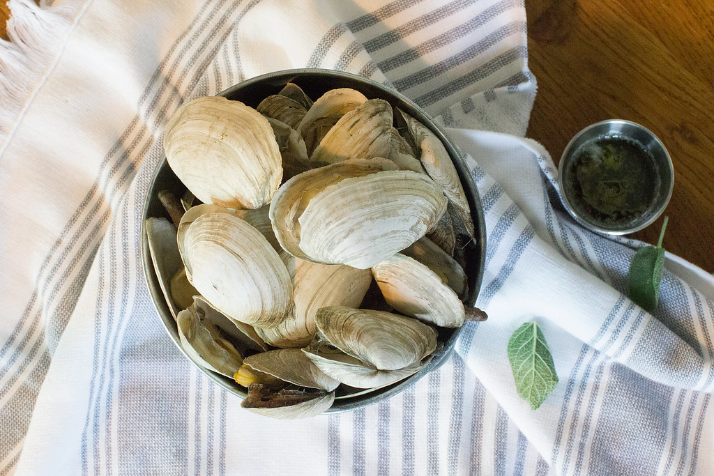 Steamers with Sage Garlic Butter