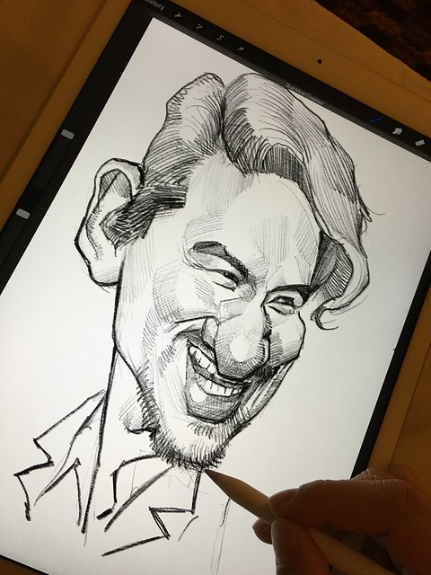 Digital caricature sketch of 張學友 Jacky Cheung on iPad Pro + Apple Pencil in Procreate.