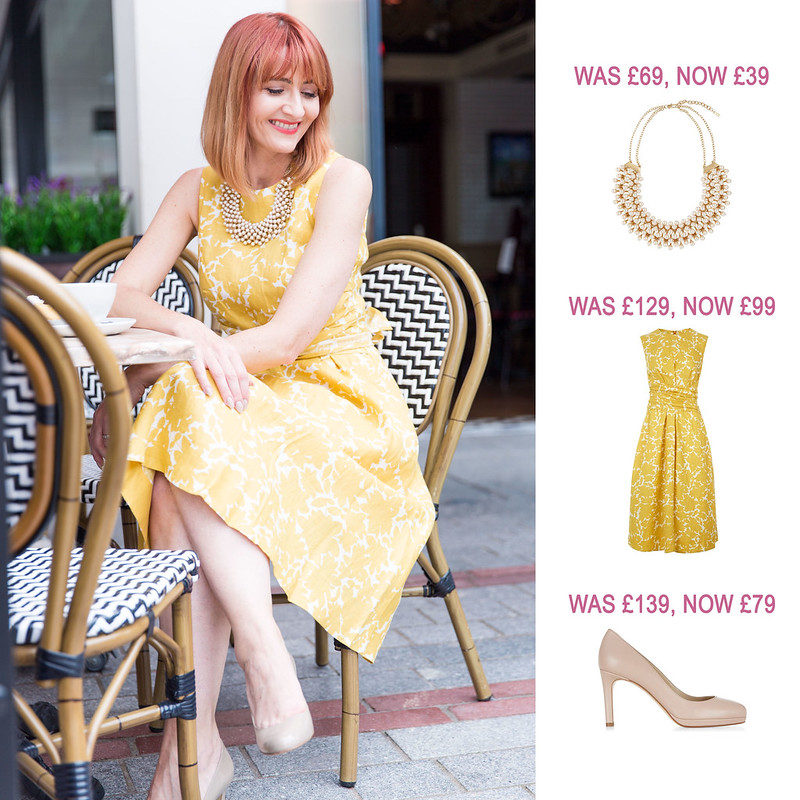 Summer Sales Picks SS16 - Hobbs pearl necklace, yellow Twitchill dress, nude heels | Not Dressed As Lamb