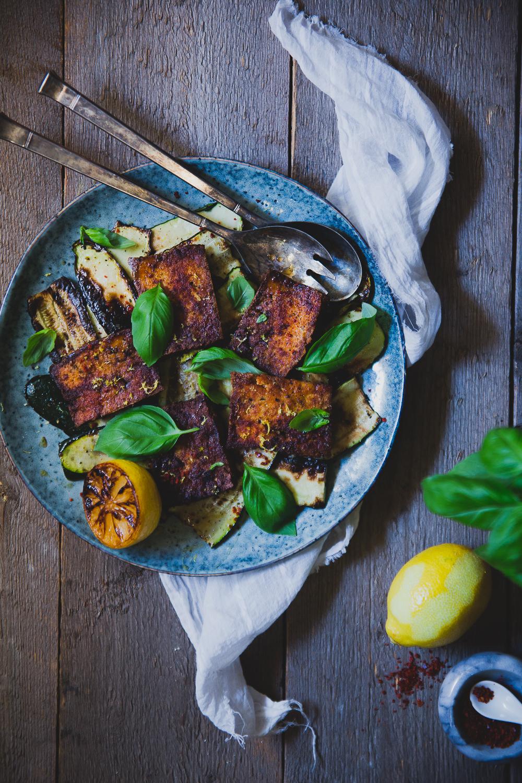 Zucchini & Tofu Caprese with Grilled Lemon   Cashew Kitchen