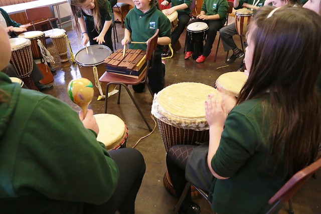 Drumming workshop at Porth Junior School