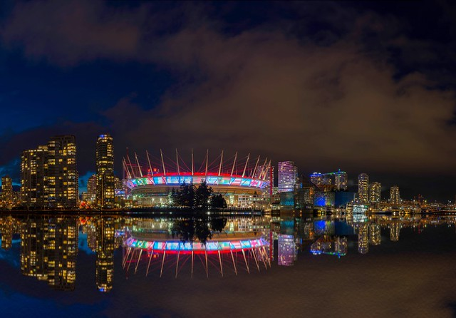 BC Place's Northern Lights Display decorated with an international flair.